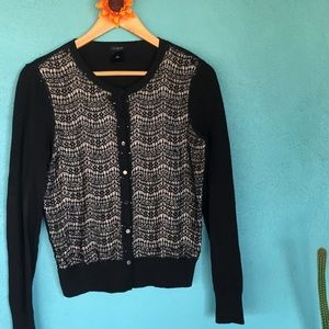 Ann Taylor cardigan with black lace and sequins